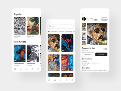 Art Shop app design art app art art shop design dailyui ui