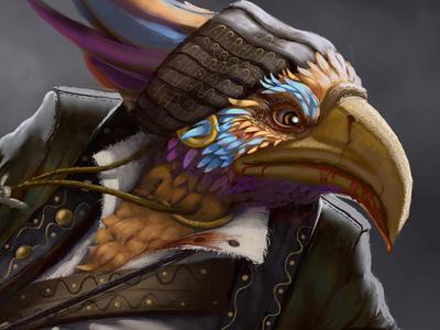 Pirate bird pirate birds guitars fantasy character conceptart illustration