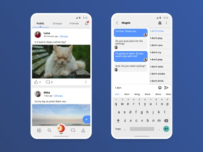 ParrotOne mobile chat wall friends messaging app ux ui android