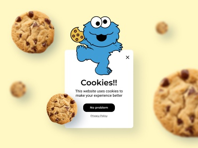 Daily UI 16 | Pop Up sesame street pop up overlay cookie warning cookie monster cookies cookie pop up popup ui daily ui dailyuichallenge dailyui daily 100 challenge