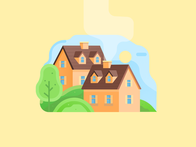 Colorful Home vector shape color abstract 2d landscape illustration