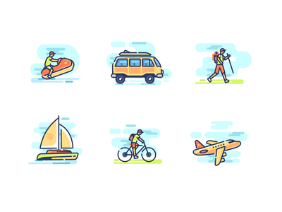 Summer abstract vector icons illustration vacation summer travel color line cycling plane suv van water boat