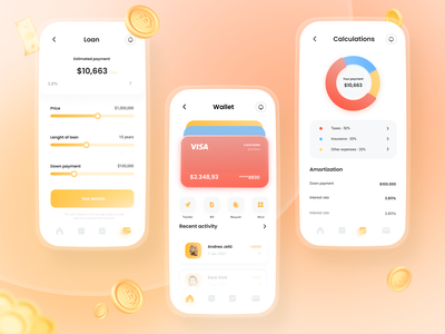 Mobile banking app - mortgage calculator exchange money app wallet app transfer credit card dailyui gradient elements ui banking mobile app wallet ui fintech finance app balance loan credit debit wallet