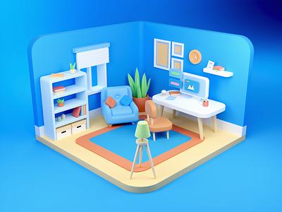 3D Room web modeling ux ui architecture vray design isometric 3d illustration 3d modeling workspace illustration blender composition house room 3d perspective