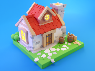 Pirate House game art cute cartoon 3d building building 3d model wood house 3d blender render isometric lowpoly diorama lowpolyart illustration game illustration game icon farm farm house