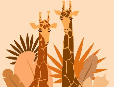 Giraffe monochrome safari ui web vector illustration design webdesign giraffe