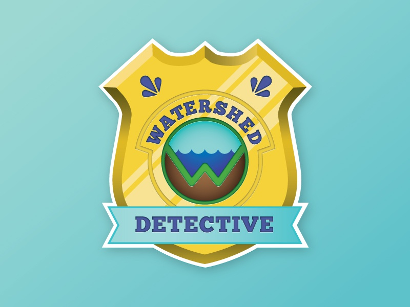 Watershed Detective police logo water education children gold shiny cute badge detective watershed