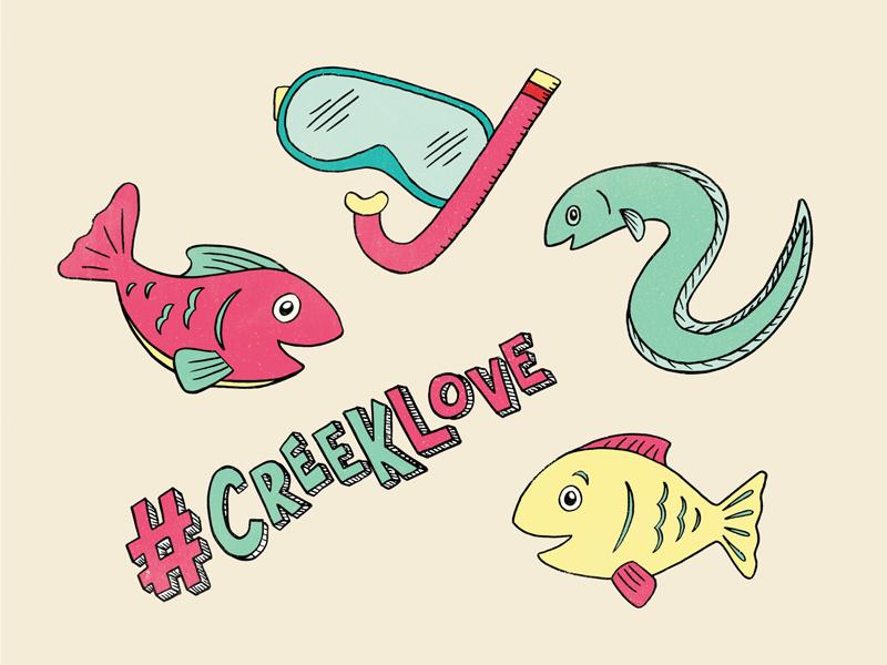 Fishy Friends cartoon goggles illustration life sea water creek love friends fishy fish