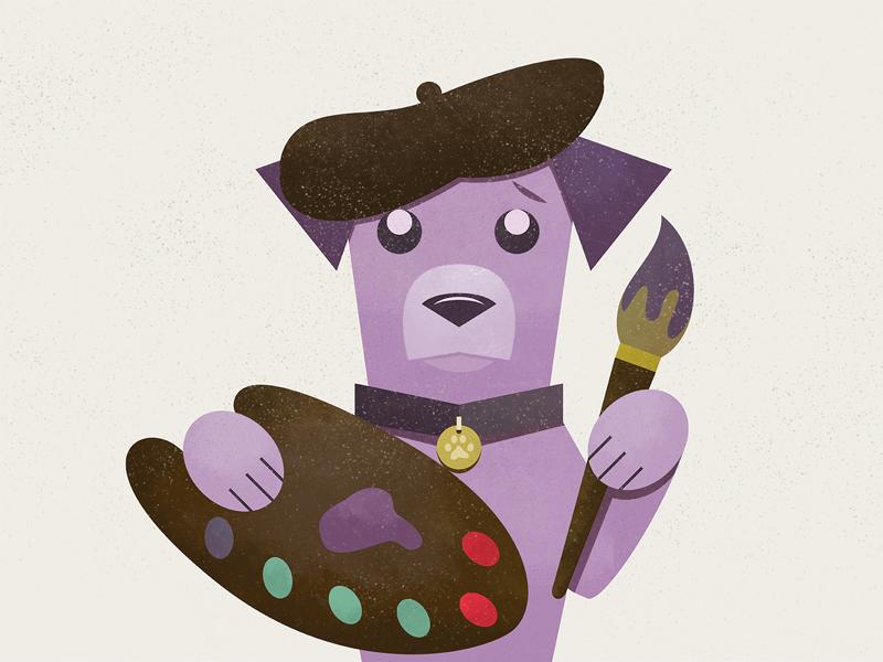 Painter Dog painting doggie illustration vector puppy paw collar texture paintbrush dog paint