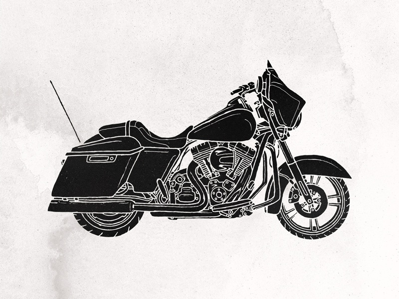 Hello Moto blackout grunge texture illustration black and white cruiser harley motorcycle moto