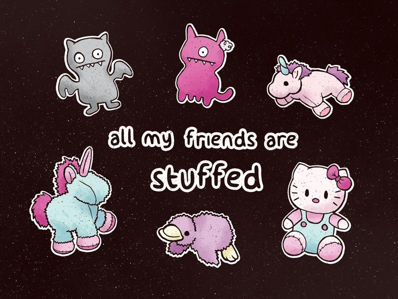 Friends bat horse duck unicorn hello kitty doll ugly pastel illustration animals stuffed friends