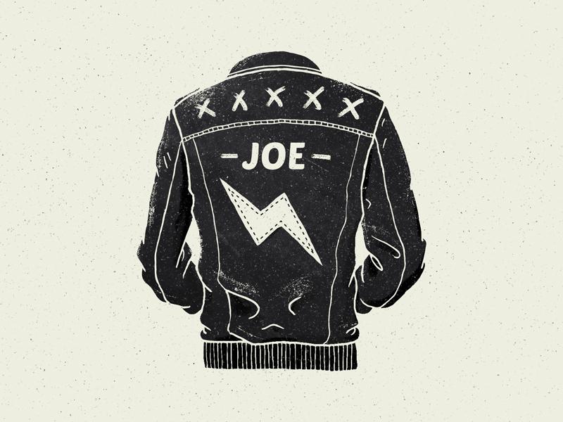 Joe's Dream illustration texture x black grunge fashion lightning bolt joe jacket leather