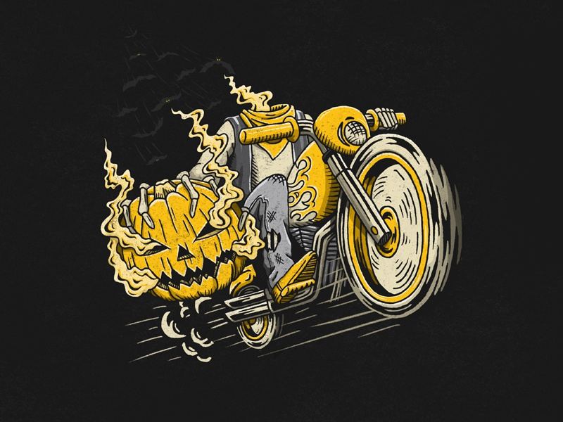 The Headless Biker ghost speed texture skeleton scary biker grunge bats headless halloween pumpkin motorcycle