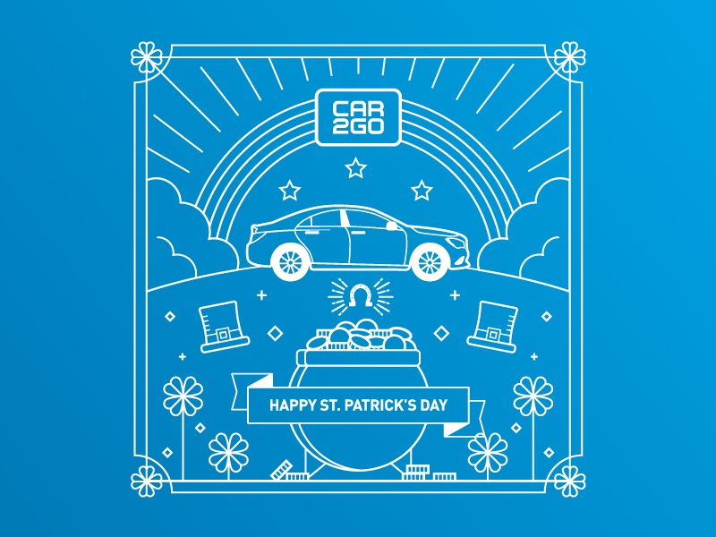 car2go St. Patrick's Day illustration cars car ribbon coins line art lines rainbow car2go pot of gold clover st. patricks day
