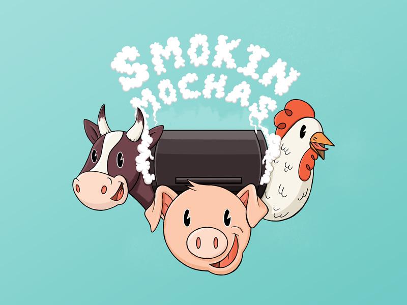 Smokin Mochas cute texture illustration cartoon happy meat pig chicken cow smoke grill