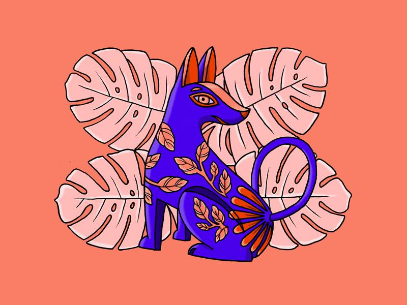 Little Friend design drawing illustration blue flowers leaves mexican culture tropical dog spirit alebrije