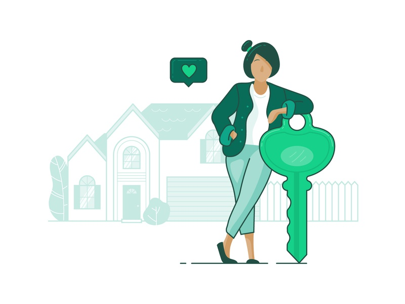 Unlock Ownership illustration woman heart owner ownership success real estate house home key