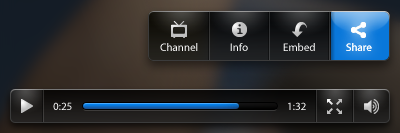 Video Player Controls video player video player controls play fullscreen volume channel info embed share