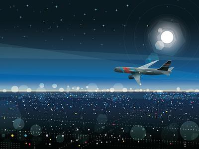 City lights barcelona luna moon plane avión illustrator mexico flat landscape illustration design animation animación adobe