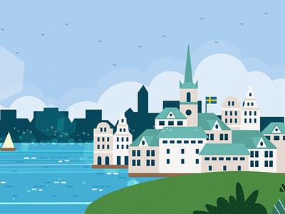 Sweden sweden mexico adobe landscape flat aftereffects illustrator illustration design animation animación