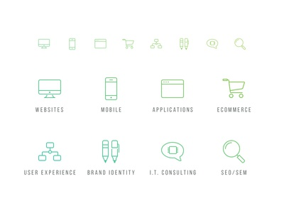 D8 Service Icons line icon iconset services website mobile apps ecommerce ui ux branding seo