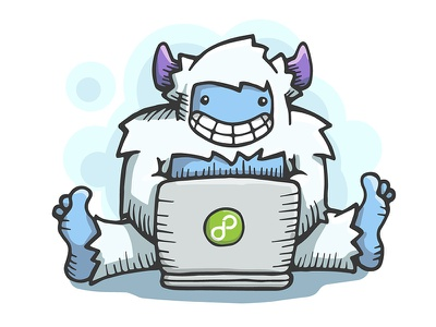 Web Development Yeti yeti sasquatch bigfoot laptop cartoon character vector illustration pen ice services