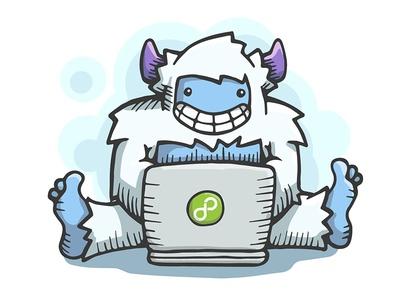 Web Development Yeti yeti sasquatch bigfoot laptop cartoon character vector illustration pen ice services