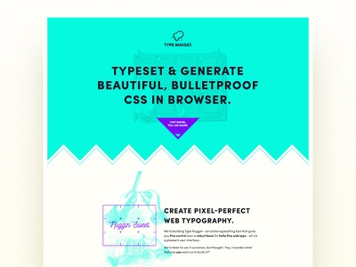 Type Nugget type bold hero landing page page one onepage single page ui web product typography