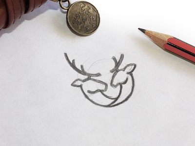 Deer Mark Sketch bridal wedding pencil process draft sketch line mark brand logo animal deer