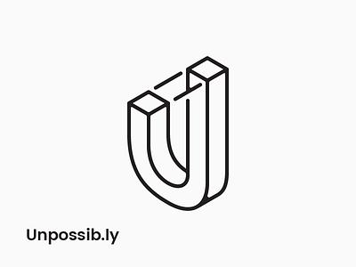 Unpossibly U perspective line isometric simple illusion optical escher minimal mono mark logo