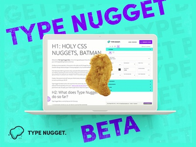 Type Nugget Beta Announcement font typography interface web beta nugget type presentation css mockup laptop ad