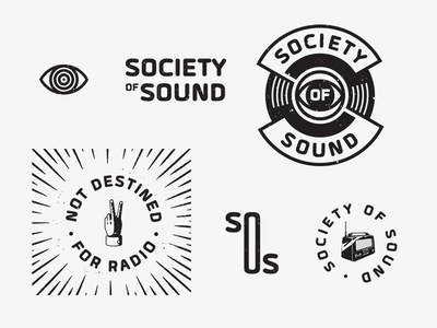 Society of Sound Elements radio music record eye mono texture moodboard exploration branding mark logo elements