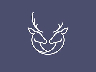 Deer Mark — Hitched wedding stag monoline minimal mark logo line deer bridal brand antler animal