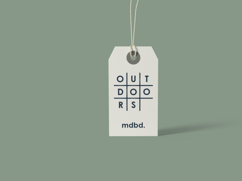 mdbd outdoor goods tag tag illustration concept minimal logo icon design branding