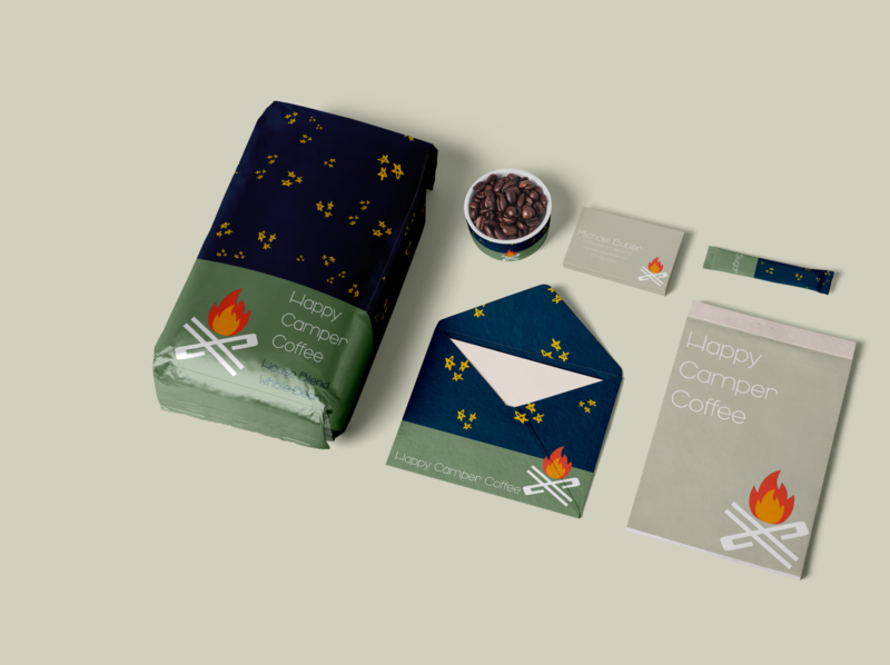 Happy Camper branding 3 coffee conceptual design packaging mockup packaging design packaging illustration concept logo icon design branding