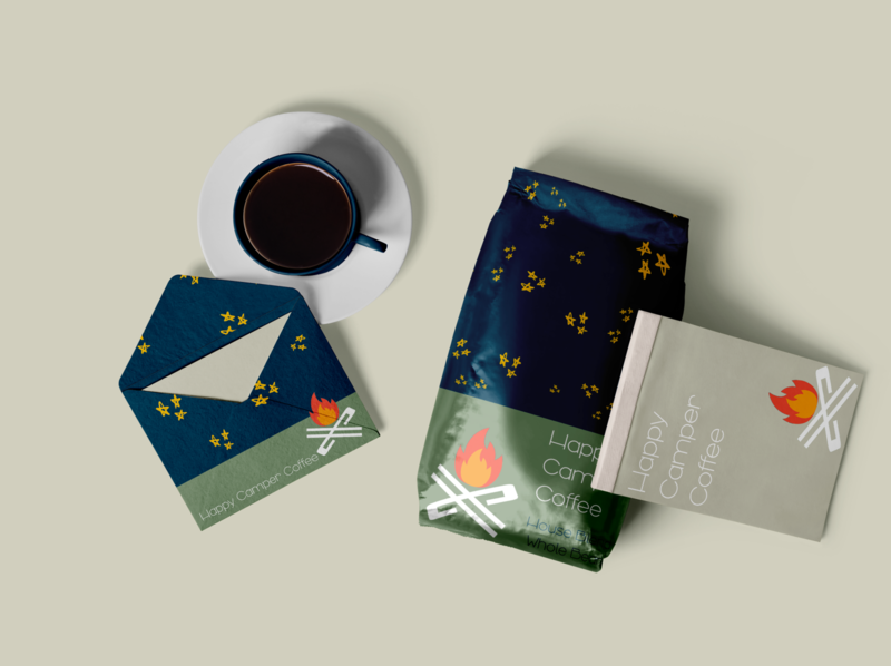 Happy Camper branding 4 coffee conceptual design packaging mockup packaging design packaging illustration concept logo icon design branding
