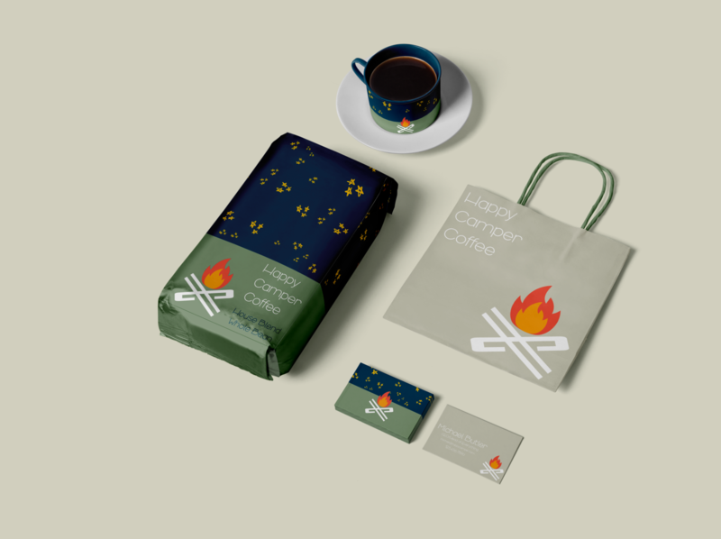 Happy Camper branding 5 packaging mockup packaging design packaging conceptual design coffee illustration concept logo icon design branding