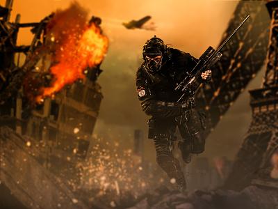 Warzone : The Rise of Eagle explosion fire digitalart art sniper soldier war photoshop digital imaging design