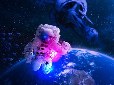 Walking to the moon astronomy moon fantasy butterfly space astronaut digital imaging digitalart design art