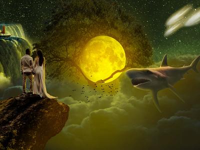 Whole New World fantasy moon happiness happy wife husband wholenewworld shark whole digital imaging digitalart design art