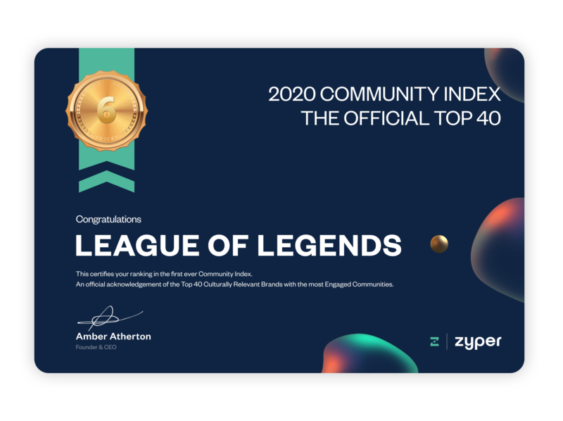 Certificate for Riot Games & Zyper Community Index graphic design certificate design certificate games gaming league of legends leagueoflegends