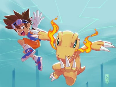 Digimon adventure fan art- Agumon and Taichi agumon digimon fanart illustration art character design migueru procreate ipad pro