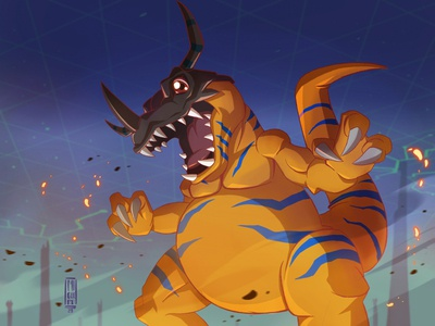 Digimon adventure fan art - Greymon ipadpro greymon digimon procreate migueru illustration ipad pro