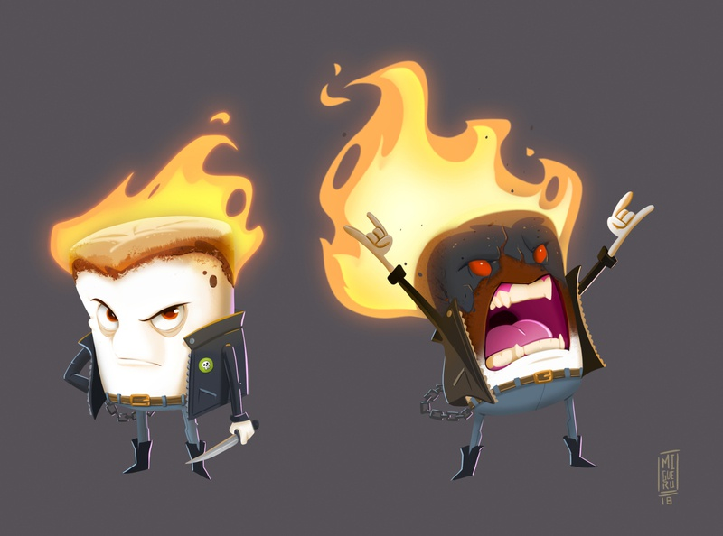 Marshmellow on fire - Character design challenge concept art character design characterdesign art illustration migueru