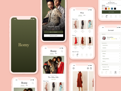 Romy Shopping App mobile fashion brand clothing app ecommerce design shopping ui shopping app fashion app ecommerce app mobile app design mobile design mobile app mobile ui ecommerce shop ecommerce minimal branding webdesign design ux ui