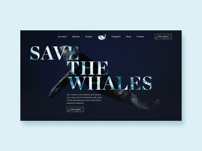 Save the whales concept #1 landing page product photography photography branding nature photography art director whale minimal design modern minimal dark ui ocean national geographic art direction webdesign website productdesign animals nature whales