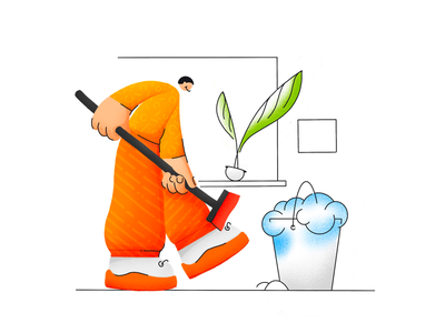 Cleaning man character texture illustration
