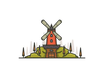 Little Architecture#5 grass stone tree mill littlearchitecture architecture windmill