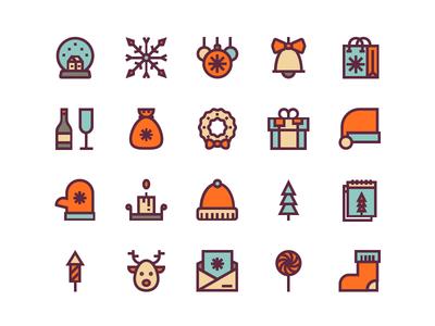 Christmas Icons lineart colorful balls merry gift holiday icons christmas