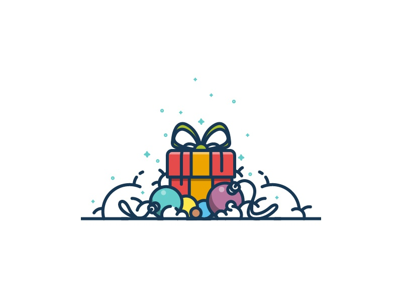 Christmas Icons lineart colorful balls merry gift holiday icons christmas